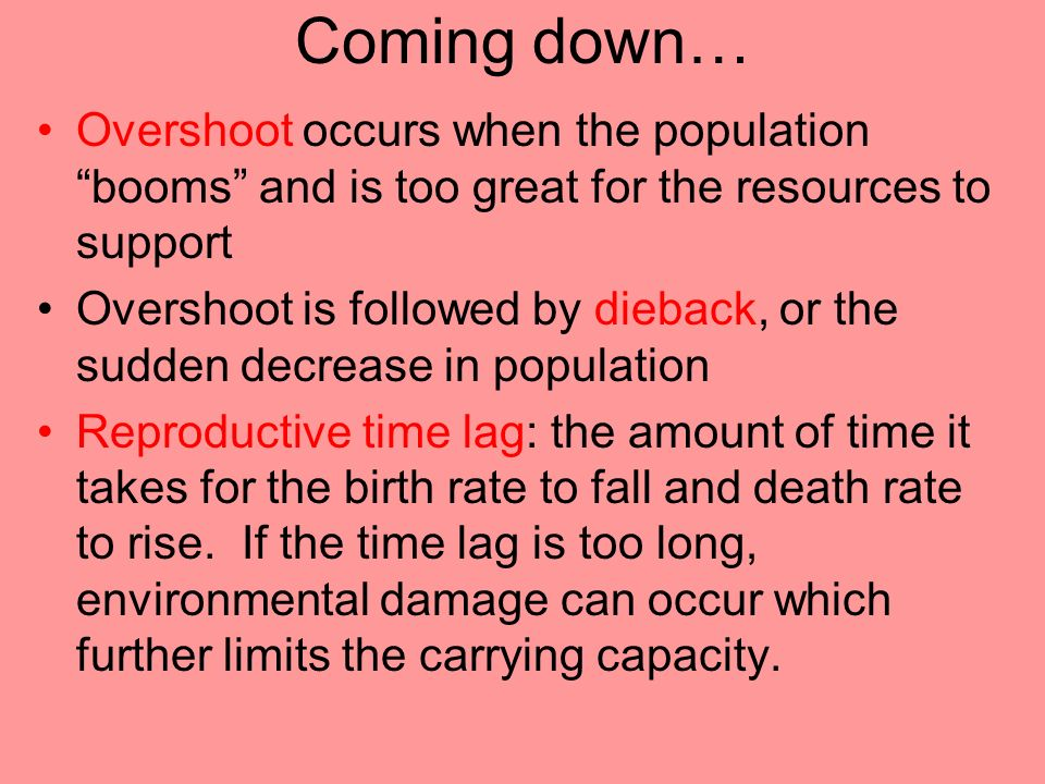 Coming down… Overshoot occurs when the population booms and is too great for the resources to support.