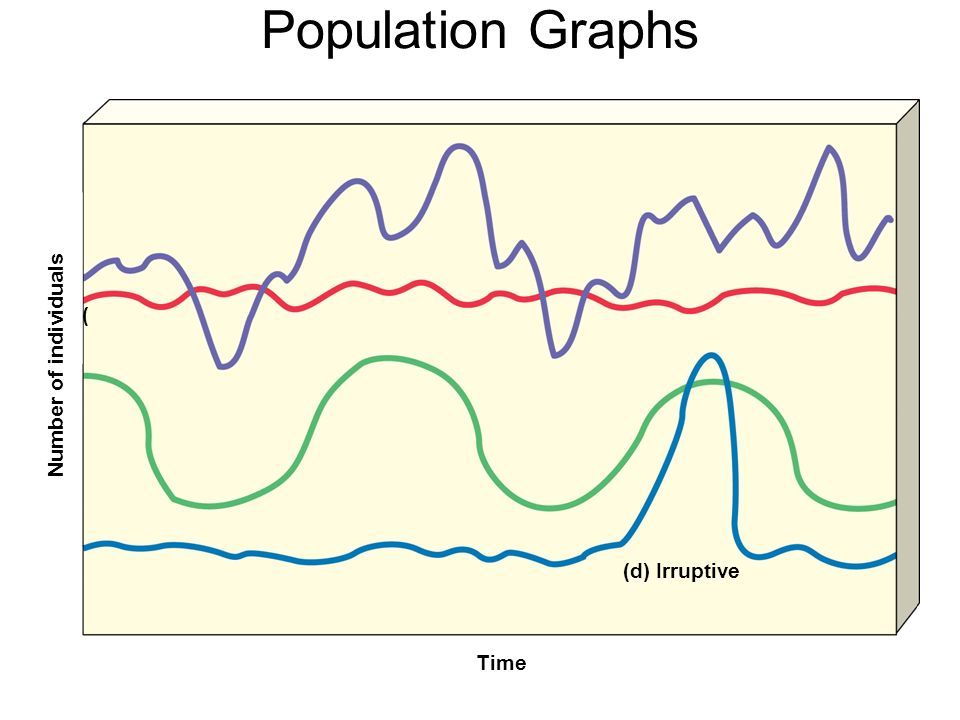 Population Graphs Number of individuals Time ( (d) Irruptive