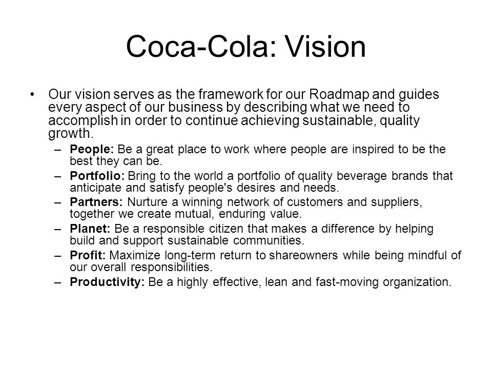 how can we work together to meet peoples needs for coca cola