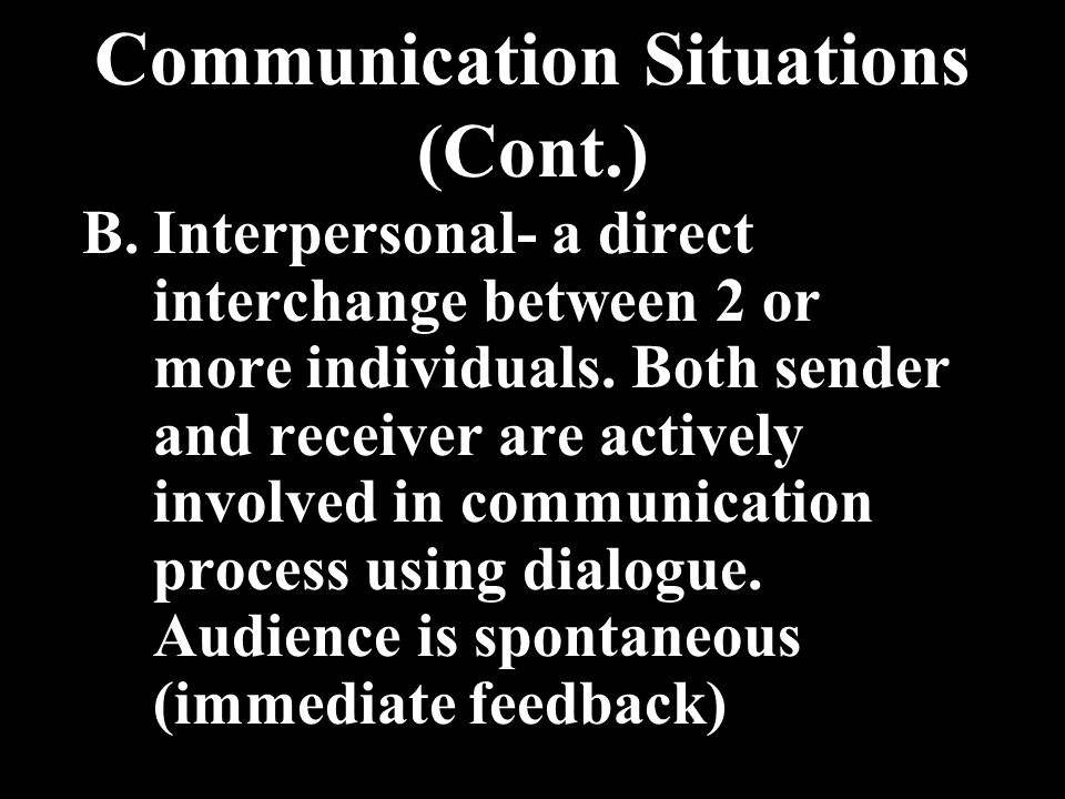 Communication Situations (Cont.)