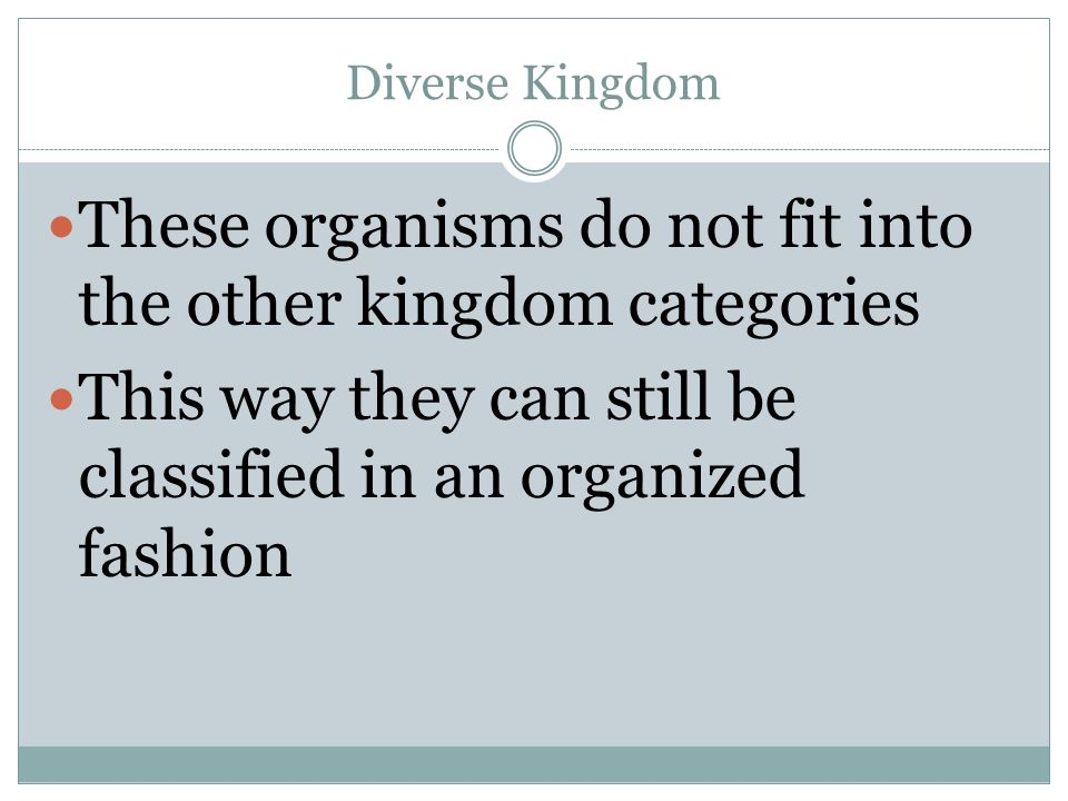 These organisms do not fit into the other kingdom categories