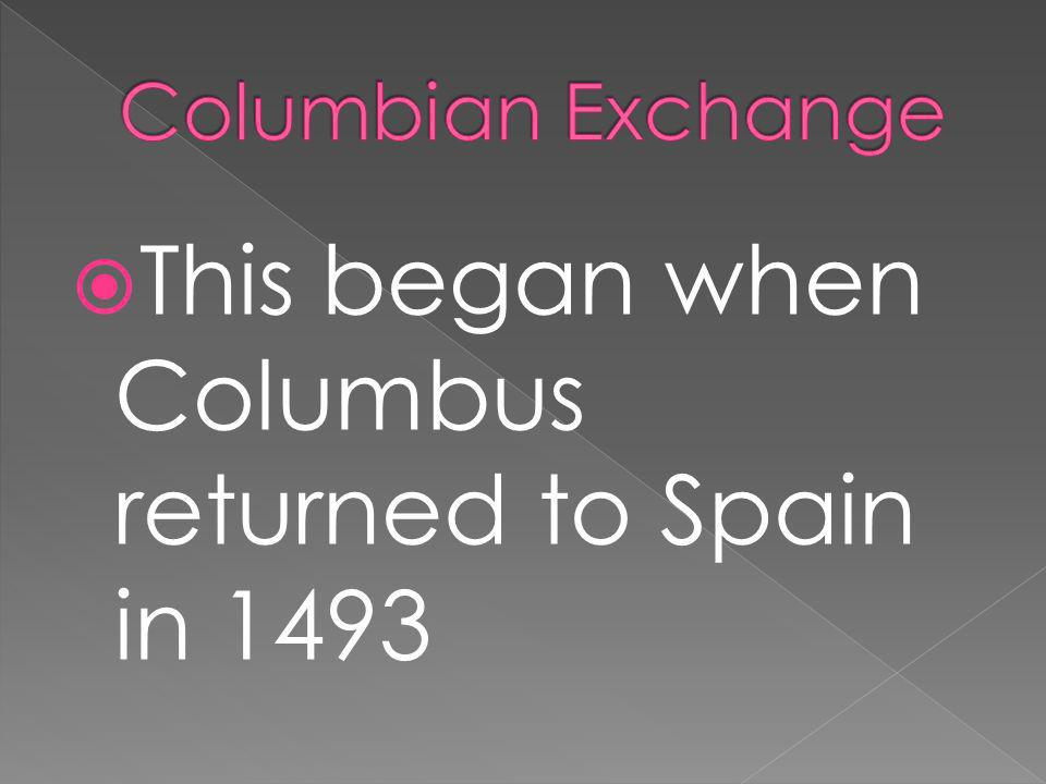 This began when Columbus returned to Spain in 1493