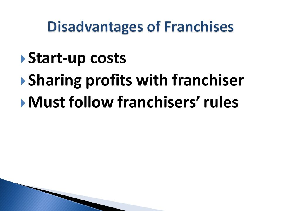 Disadvantages of Franchises