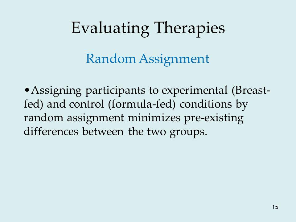 Evaluating Therapies Random Assignment
