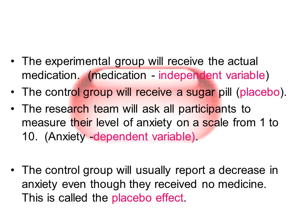 The experimental group will receive the actual medication