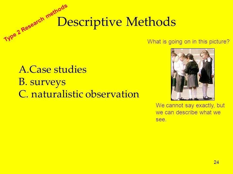 Descriptive Methods A.Case studies B. surveys