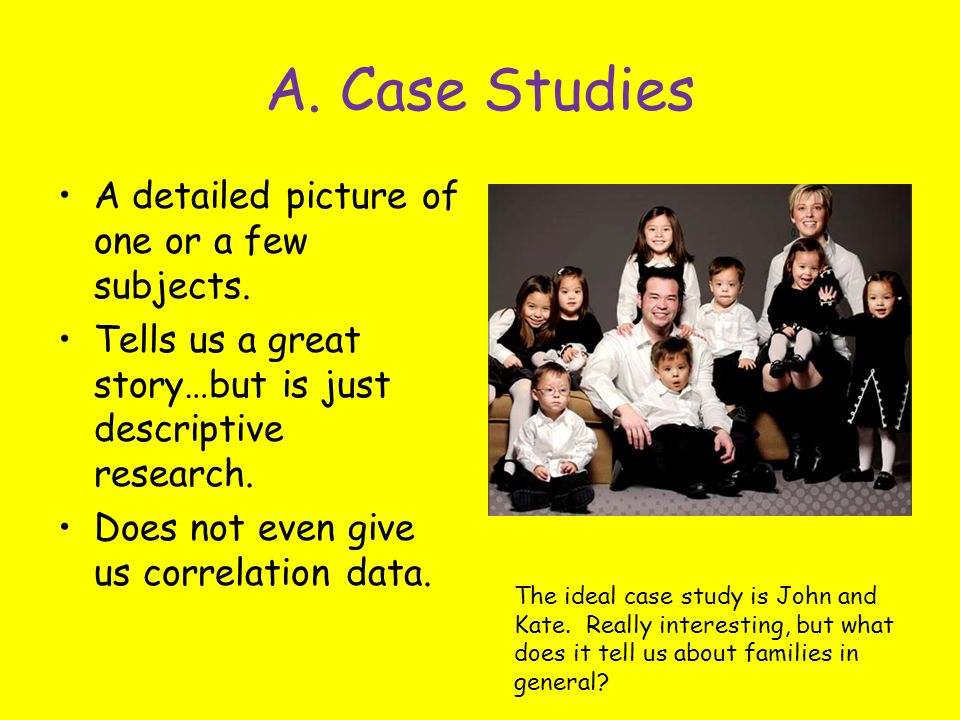 A. Case Studies A detailed picture of one or a few subjects.