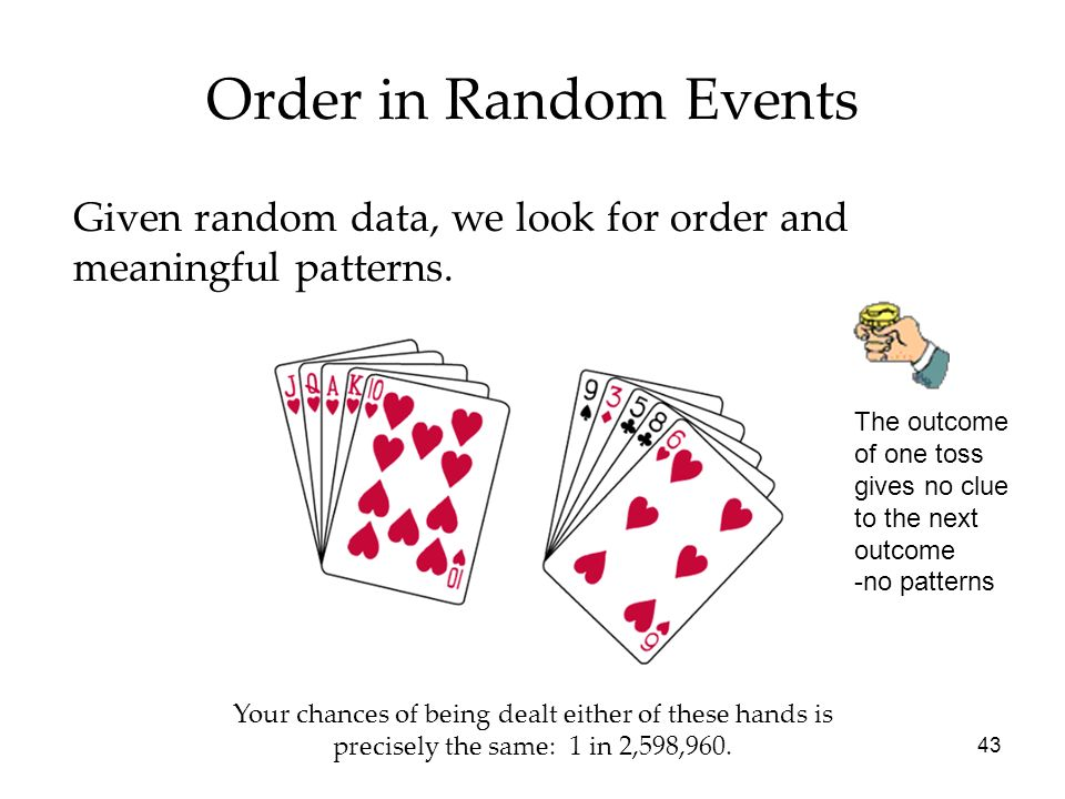 Order in Random Events Given random data, we look for order and meaningful patterns. The outcome of one toss gives no clue to the next outcome.