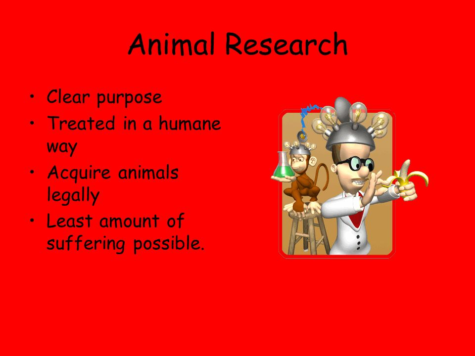 Animal Research Clear purpose Treated in a humane way