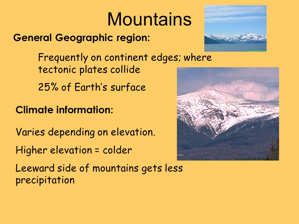 Mountains General Geographic region: