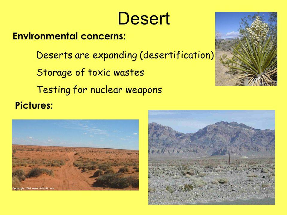 Desert Environmental concerns: Deserts are expanding (desertification)