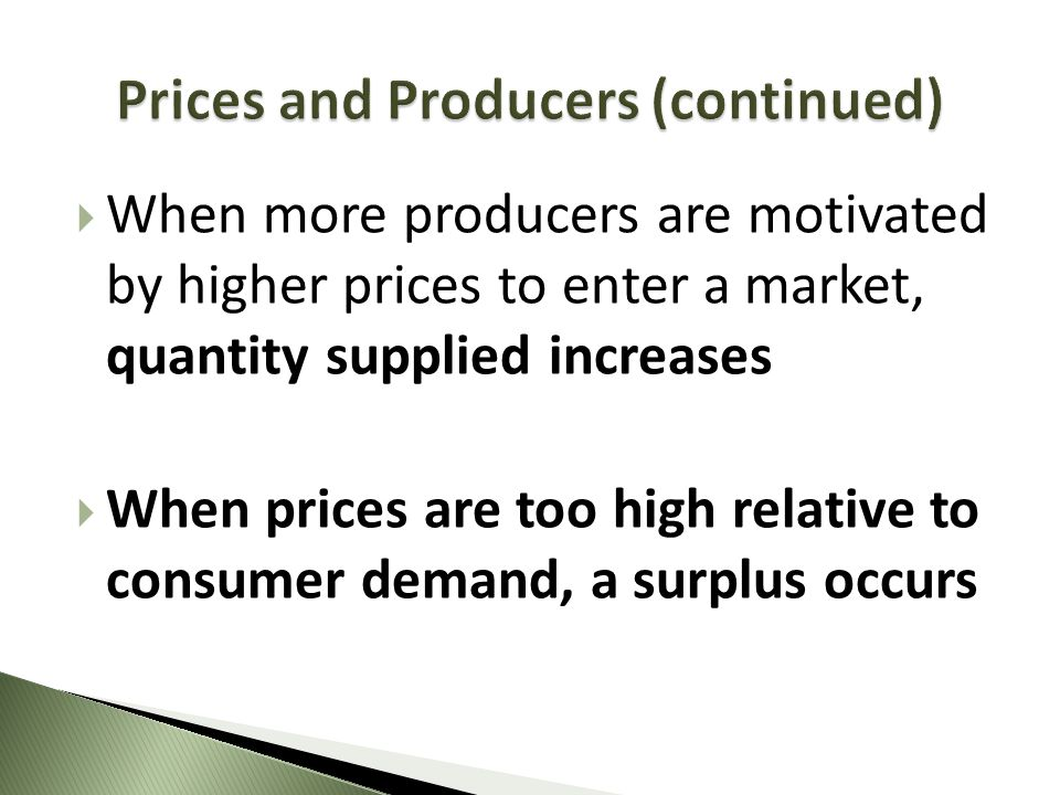 Prices and Producers (continued)