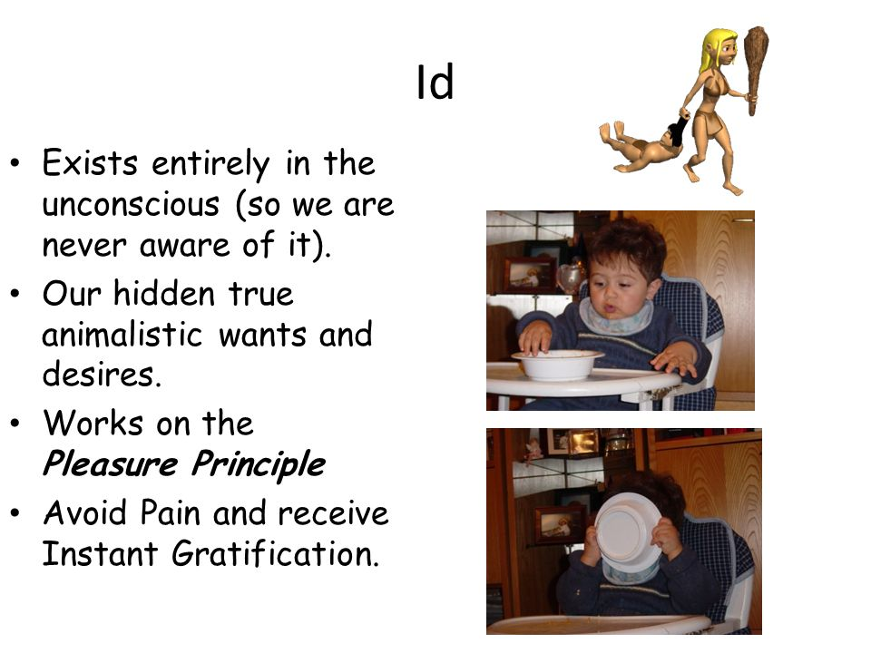 Id Exists entirely in the unconscious (so we are never aware of it).