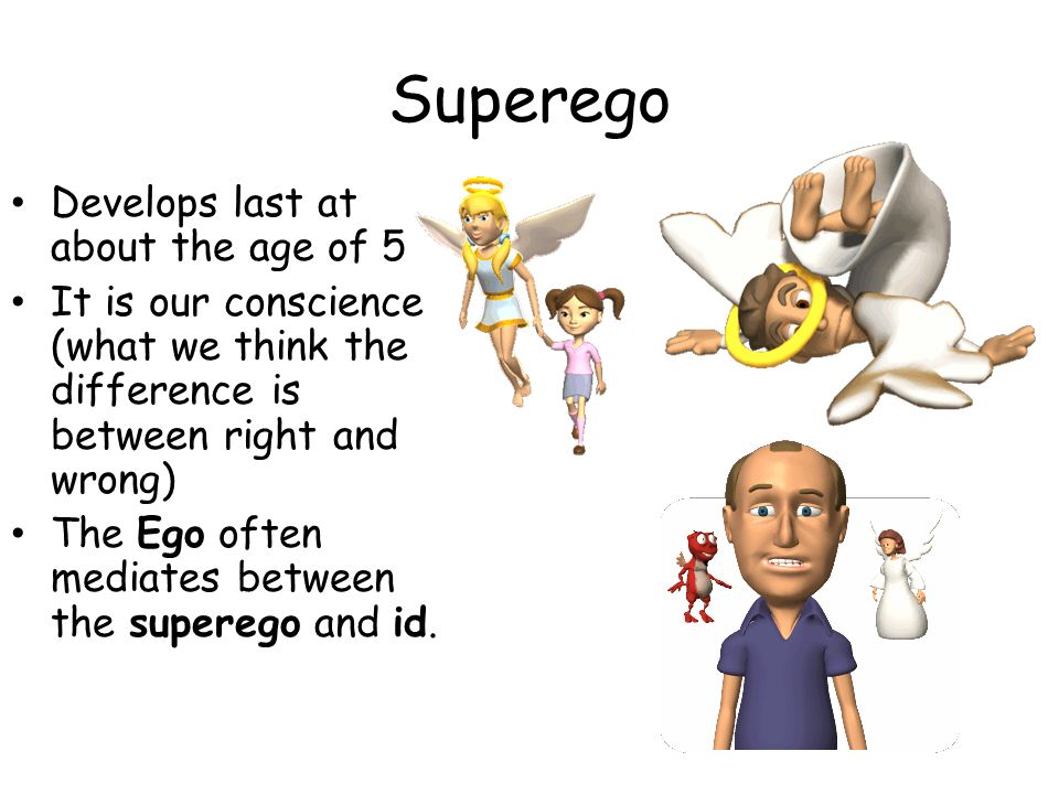 Superego Develops last at about the age of 5