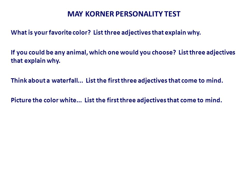 MAY KORNER PERSONALITY TEST