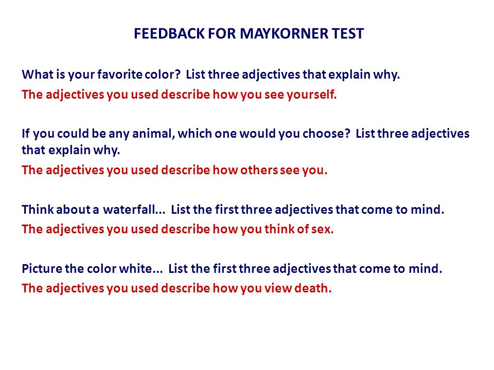 FEEDBACK FOR MAYKORNER TEST