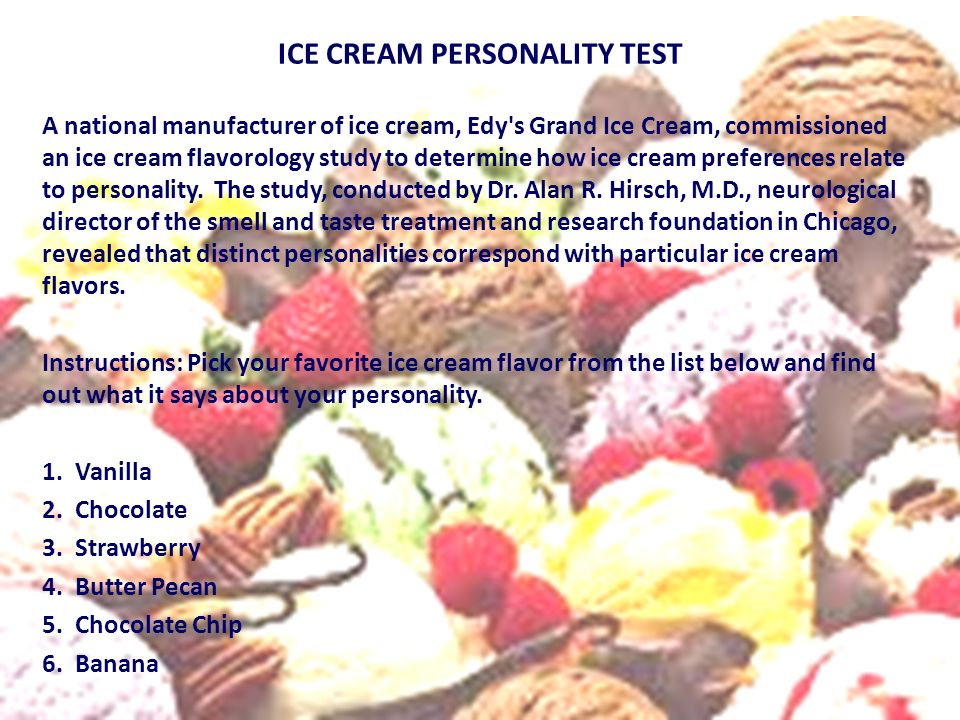 ICE CREAM PERSONALITY TEST
