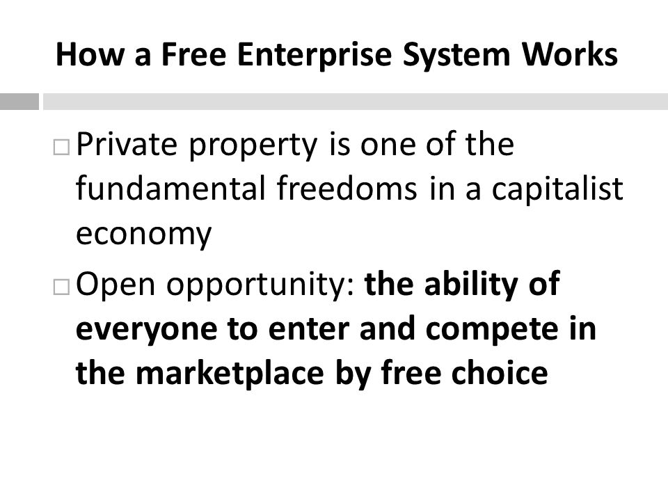 How a Free Enterprise System Works