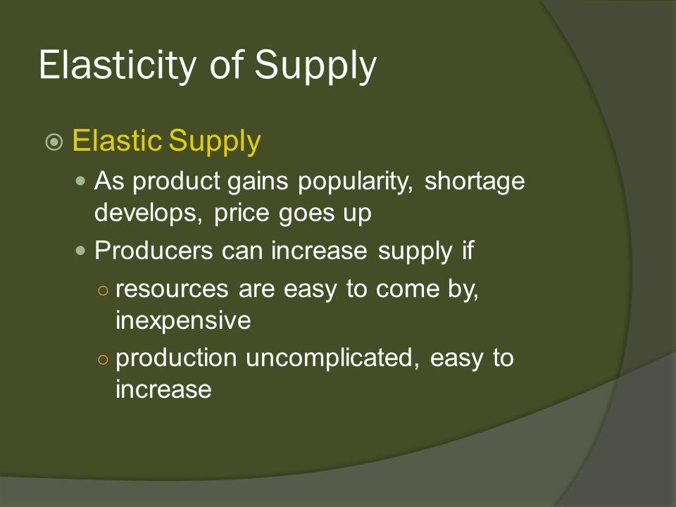 Elasticity of Supply Elastic Supply
