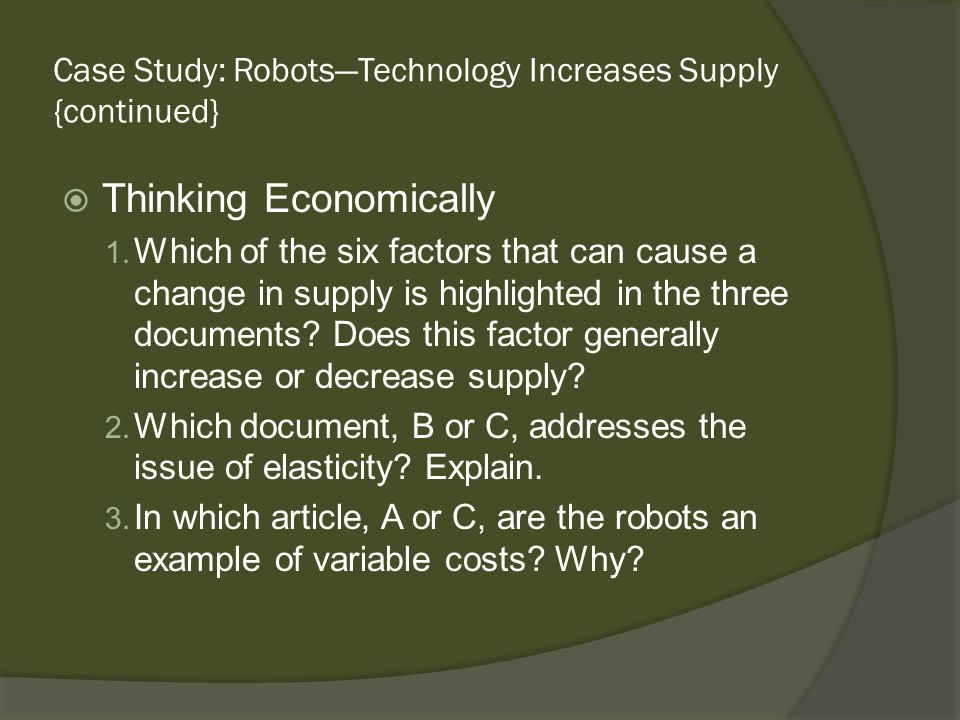 Case Study: Robots—Technology Increases Supply {continued}