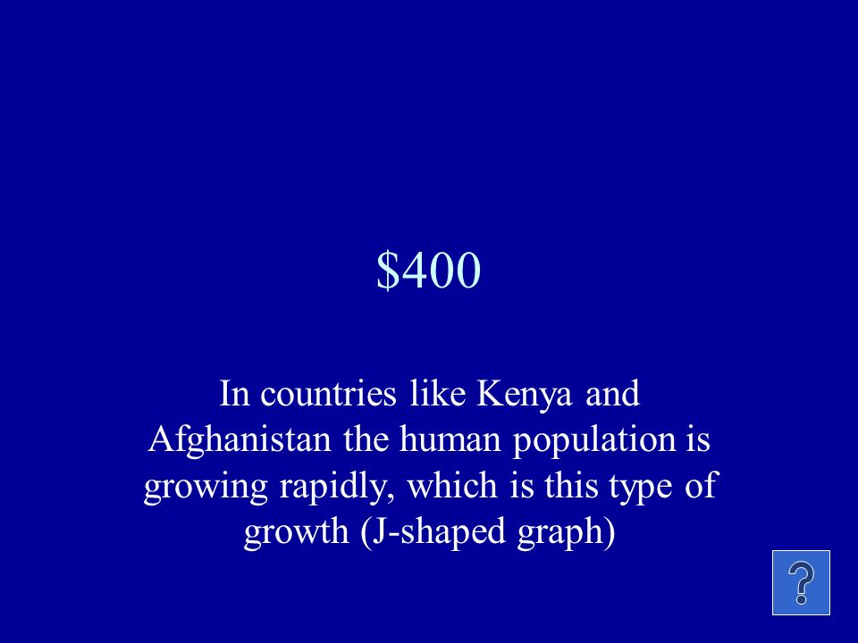 $400 In countries like Kenya and Afghanistan the human population is growing rapidly, which is this type of growth (J-shaped graph)