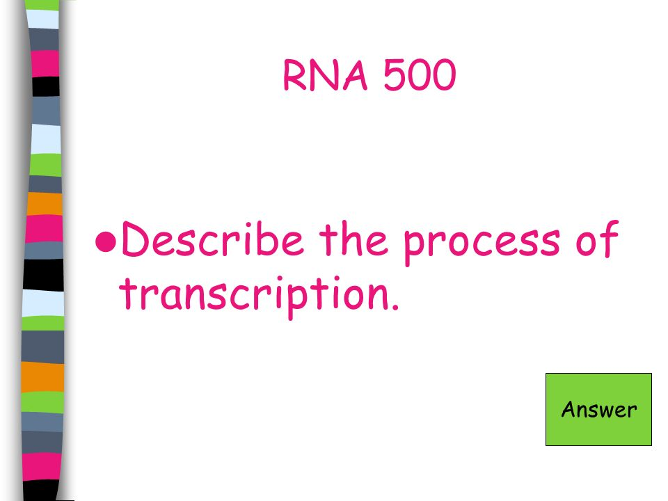 Describe the process of transcription.