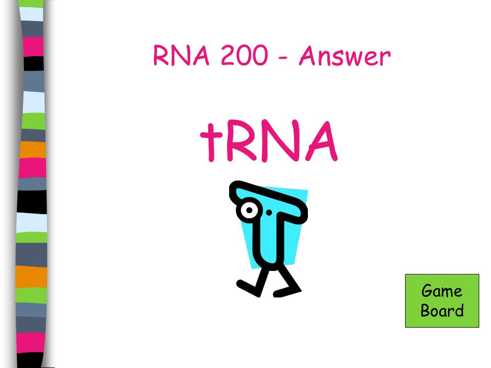RNA 200 - Answer tRNA Game Board