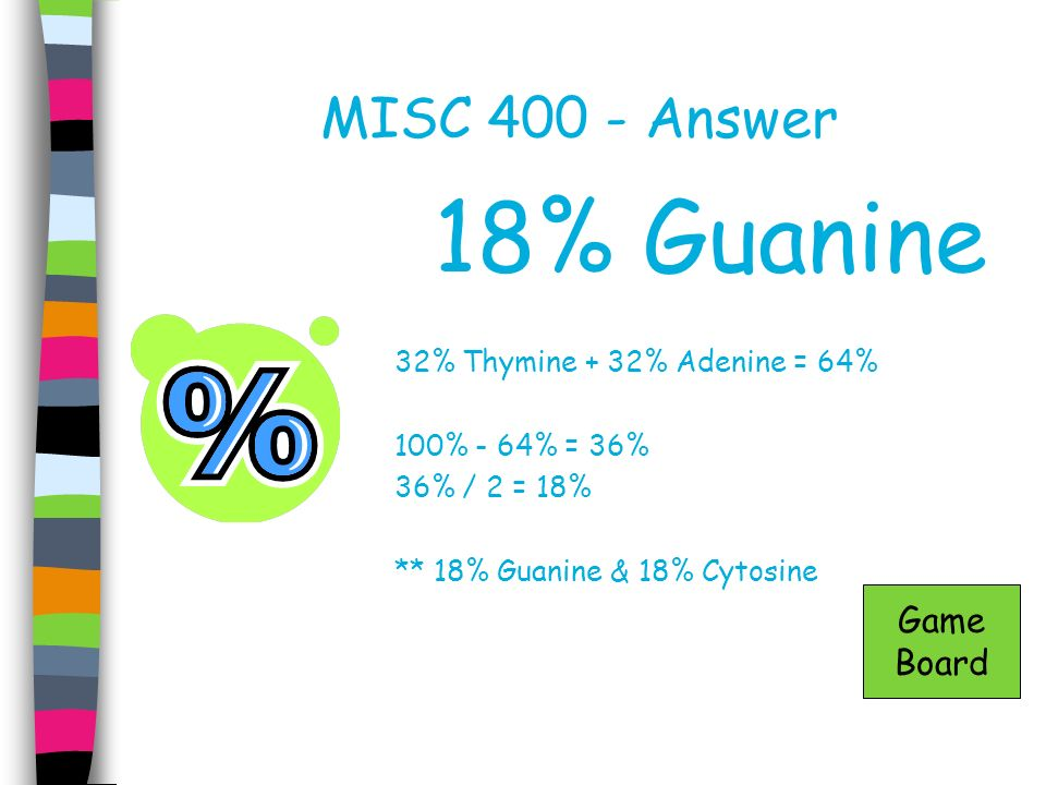 18% Guanine MISC 400 - Answer Game Board