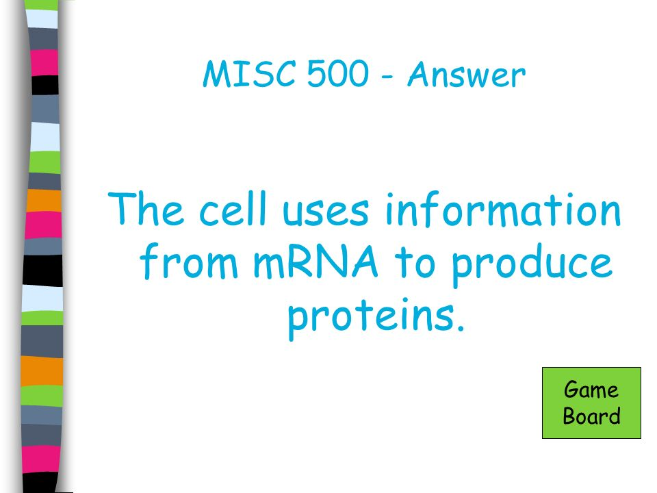 The cell uses information from mRNA to produce proteins.