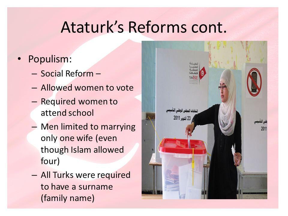 Ataturk's Reforms cont.
