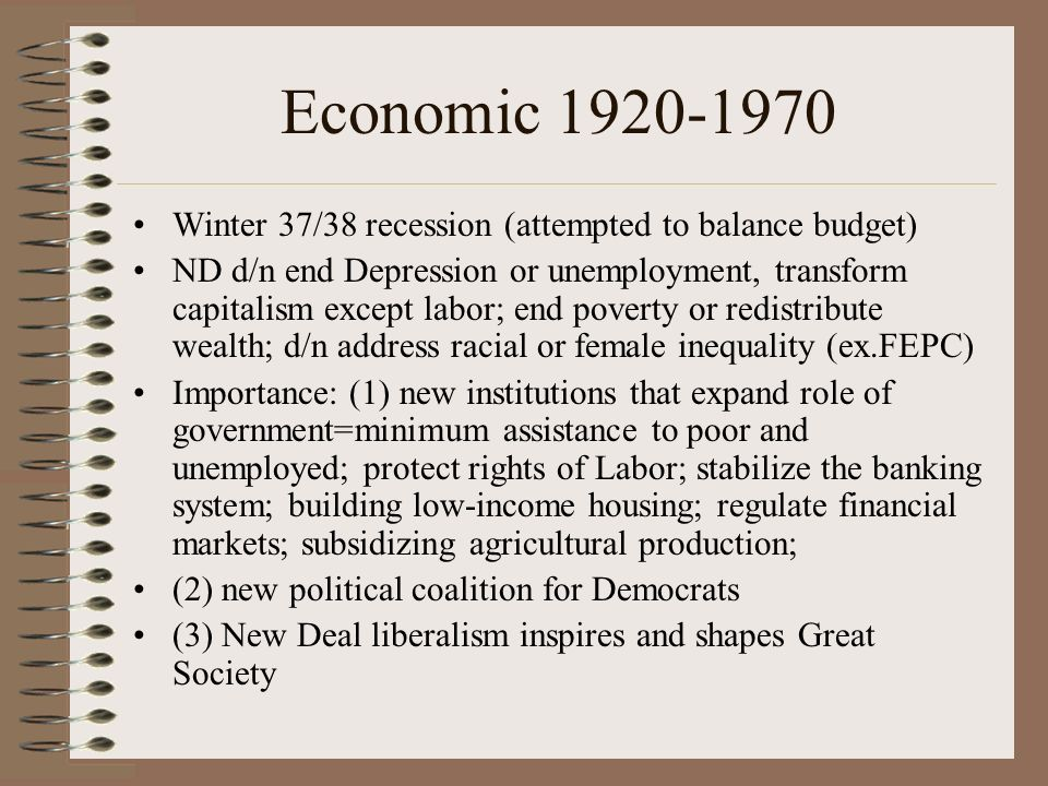 Economic 1920-1970 Winter 37/38 recession (attempted to balance budget)