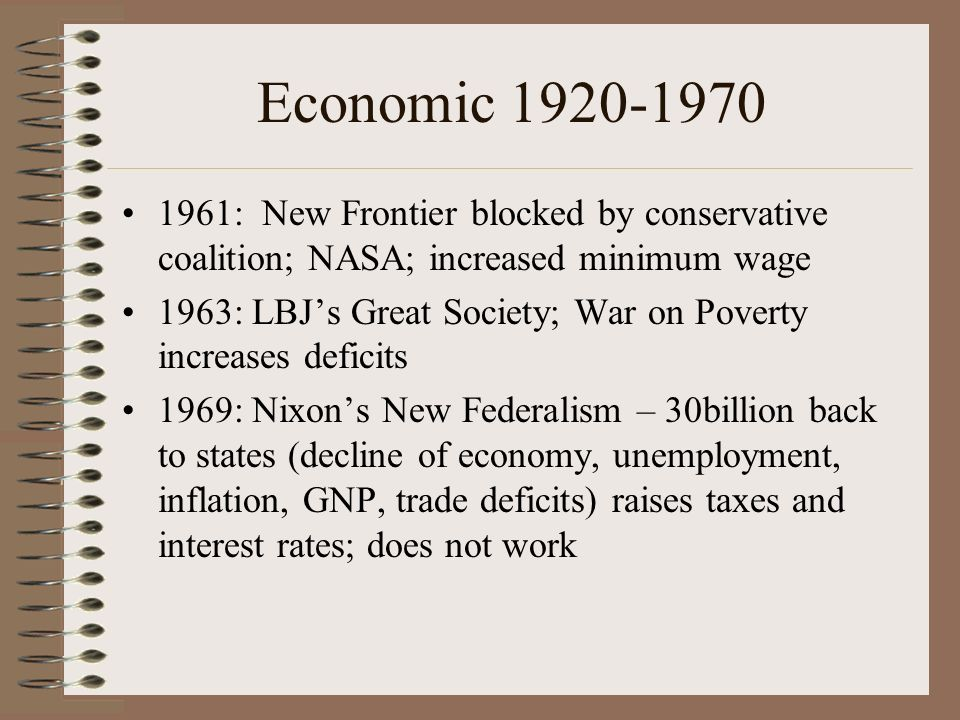 Economic 1920-1970 1961: New Frontier blocked by conservative coalition; NASA; increased minimum wage.