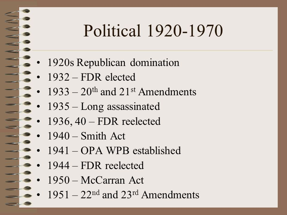 Political 1920-1970 1920s Republican domination 1932 – FDR elected