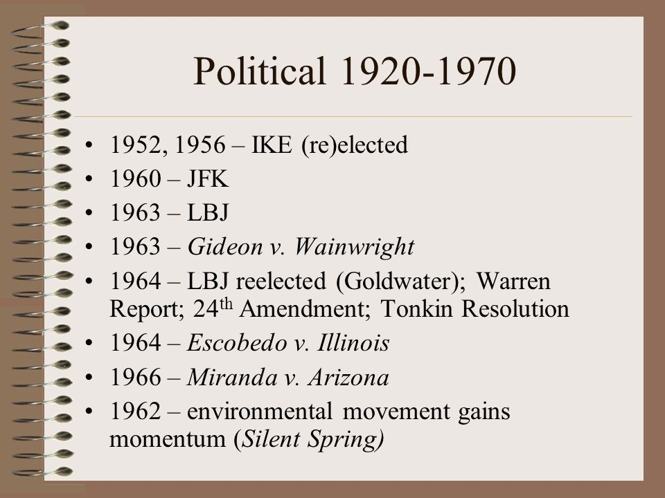 Political 1920-1970 1952, 1956 – IKE (re)elected 1960 – JFK 1963 – LBJ