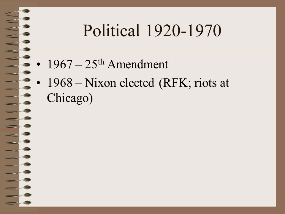 Political 1920-1970 1967 – 25th Amendment