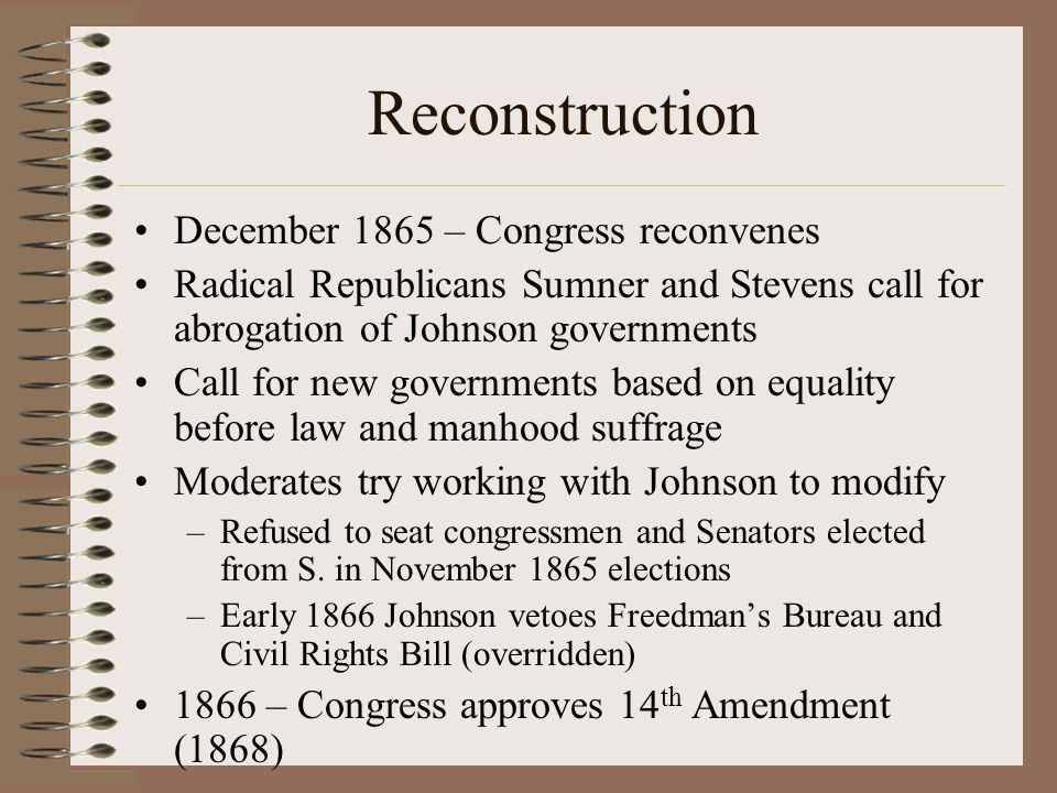 Reconstruction December 1865 – Congress reconvenes