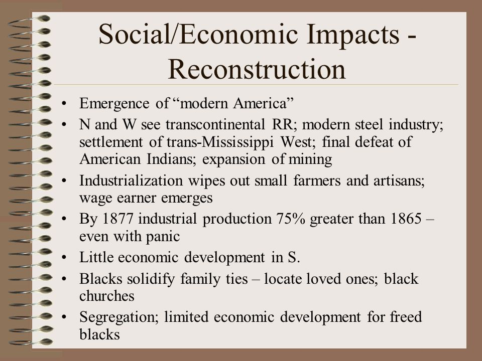 Social/Economic Impacts - Reconstruction