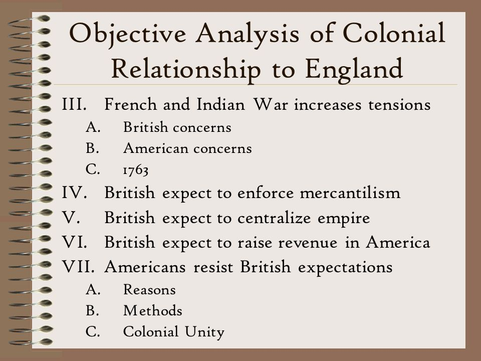 Objective Analysis of Colonial Relationship to England