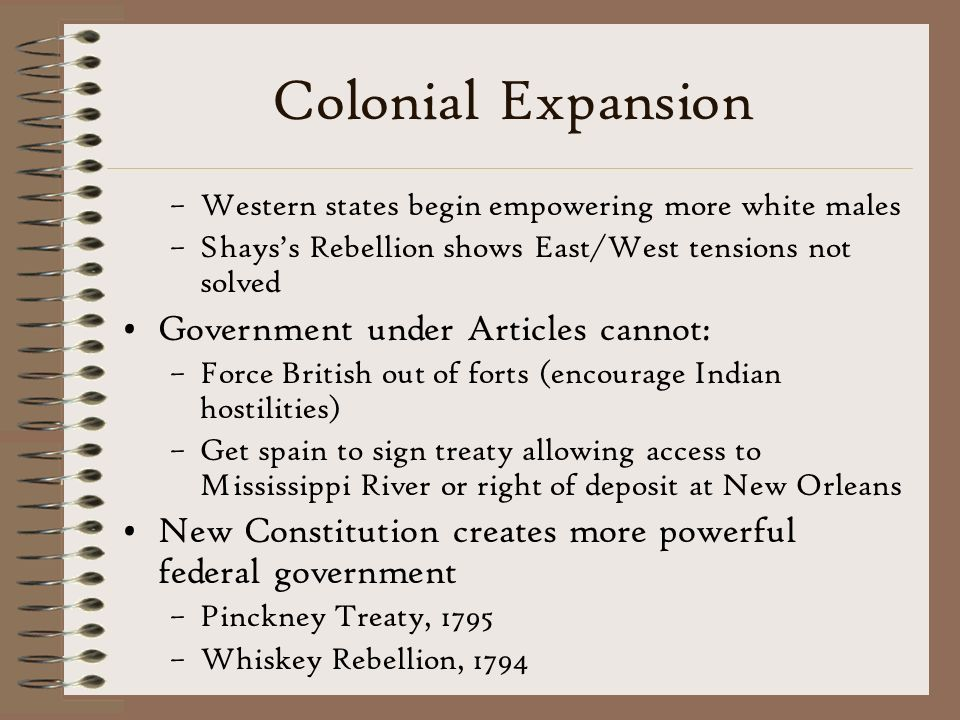 Colonial Expansion Government under Articles cannot: