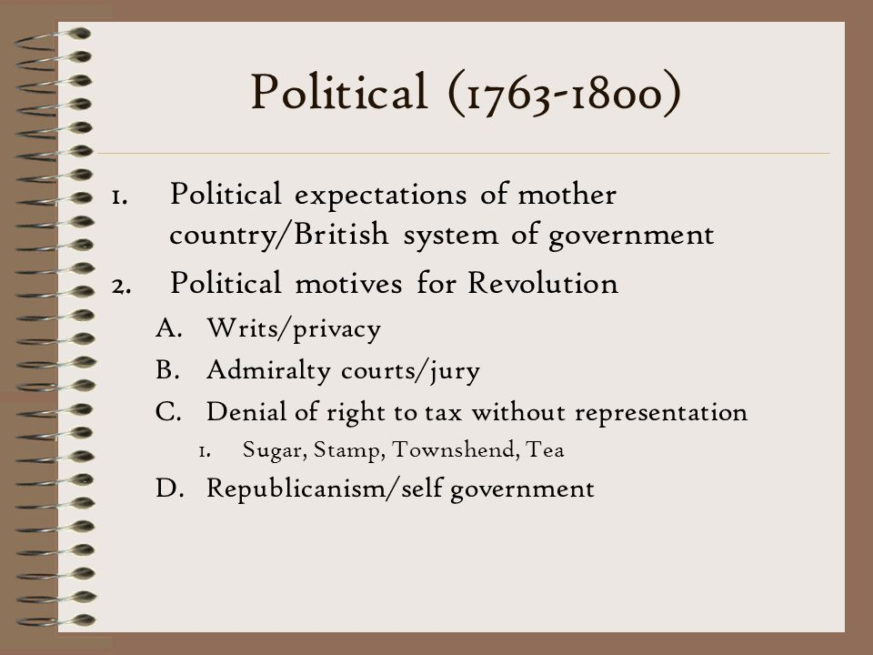 Political (1763-1800) Political expectations of mother country/British system of government. Political motives for Revolution.