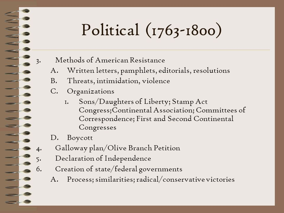Political (1763-1800) Methods of American Resistance