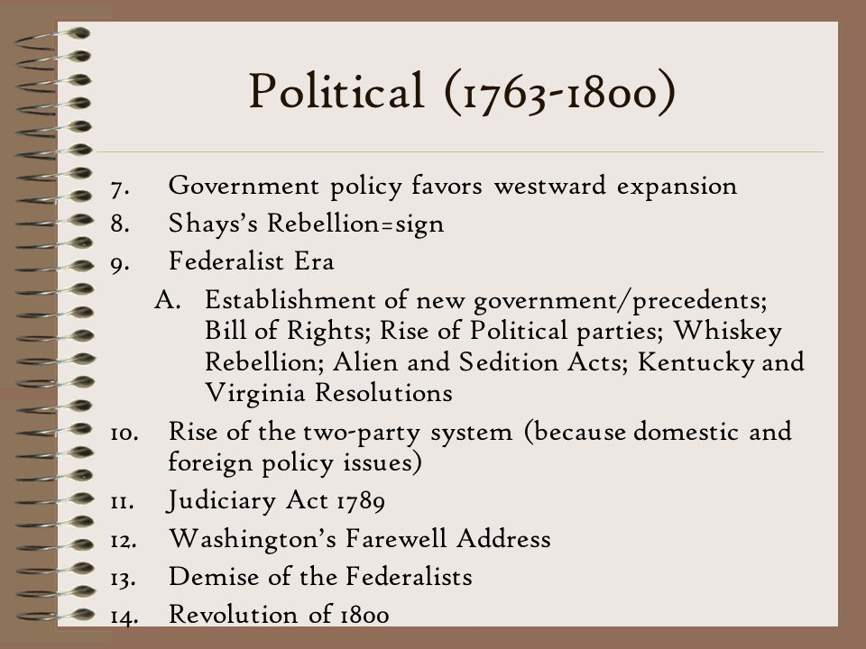 Political (1763-1800) Government policy favors westward expansion