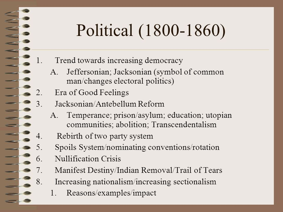 Political (1800-1860) Trend towards increasing democracy