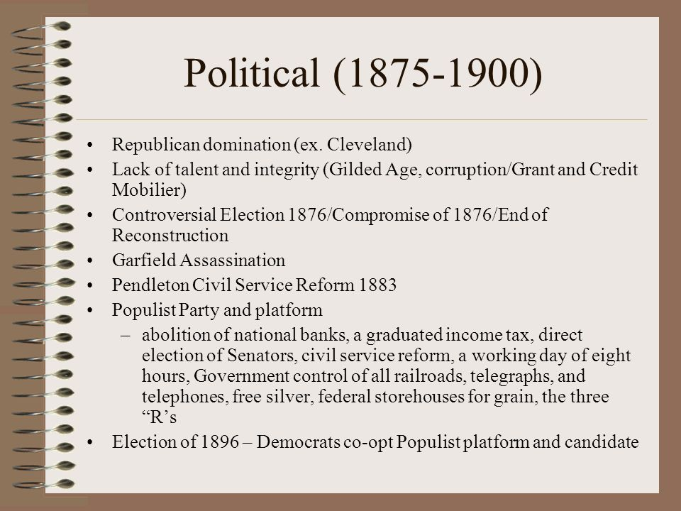 Political (1875-1900) Republican domination (ex. Cleveland)