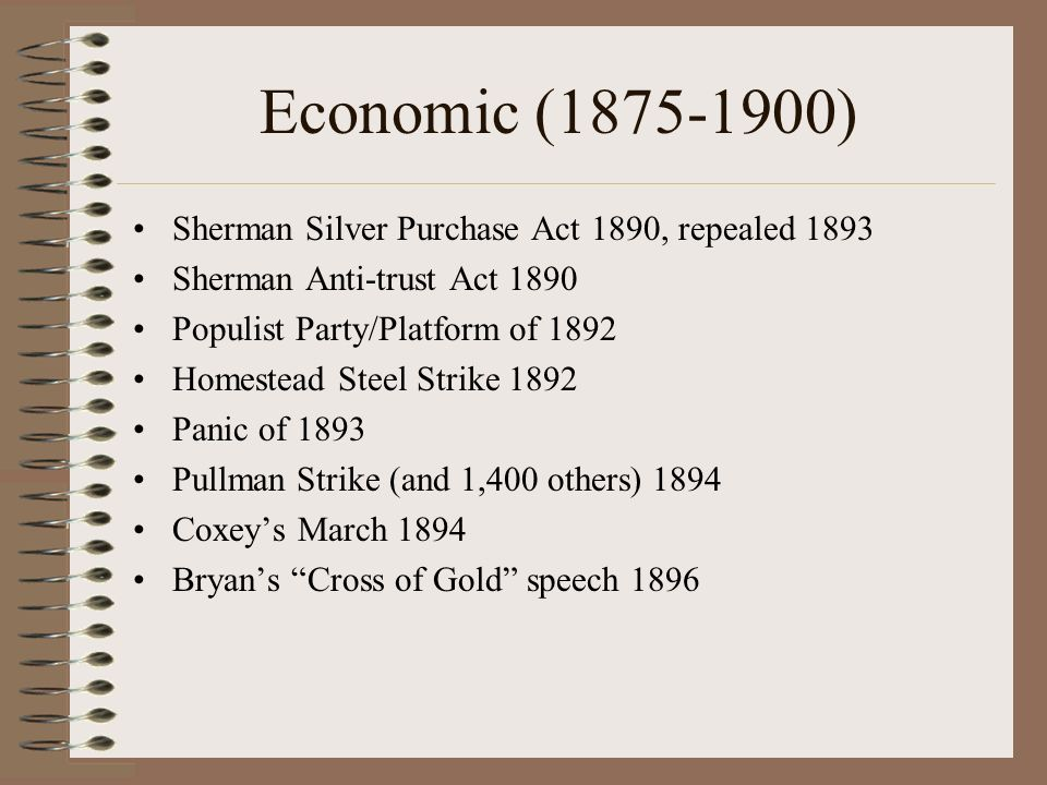 Economic (1875-1900) Sherman Silver Purchase Act 1890, repealed 1893