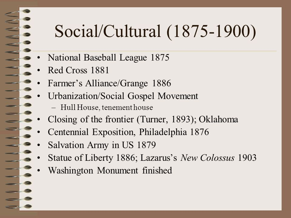 Social/Cultural (1875-1900) National Baseball League 1875