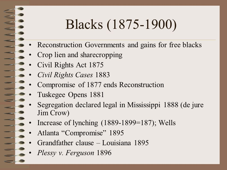 Blacks (1875-1900) Reconstruction Governments and gains for free blacks. Crop lien and sharecropping.