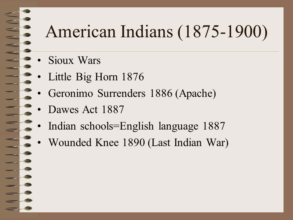 American Indians ( ) Sioux Wars Little Big Horn 1876