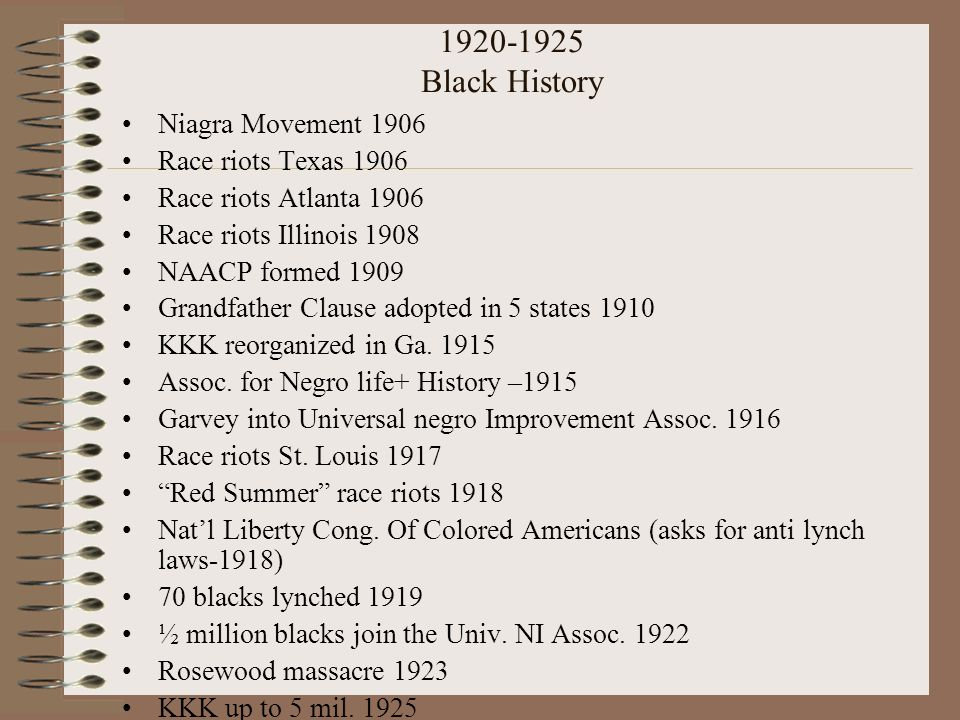 1920-1925 Black History Niagra Movement 1906 Race riots Texas 1906