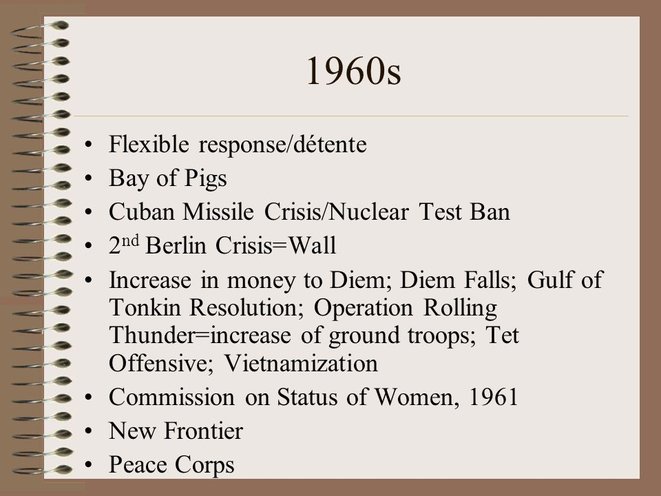 1960s Flexible response/détente Bay of Pigs